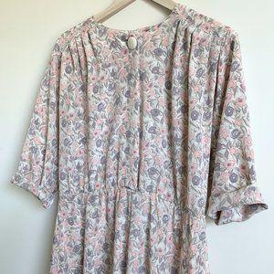 Vintage Dresses - Vintage Dolman Relaxed Floral Print Dress